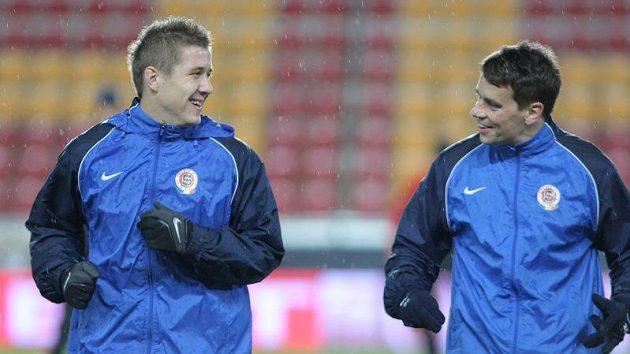 Juraj Kucka (vpravo) a Ondřej Kušnír na tréninku Sparty