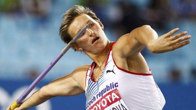 Barbora Špotáková při pokusu ve finále mistrovství světa v Tegu
