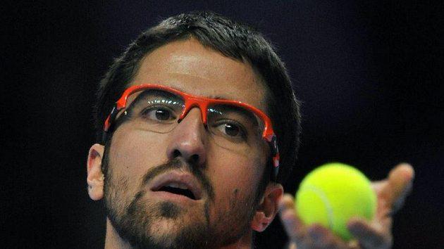 Janko Tipsarevič při utkání s Tomášem Berdychem na Turnaji mistrů.