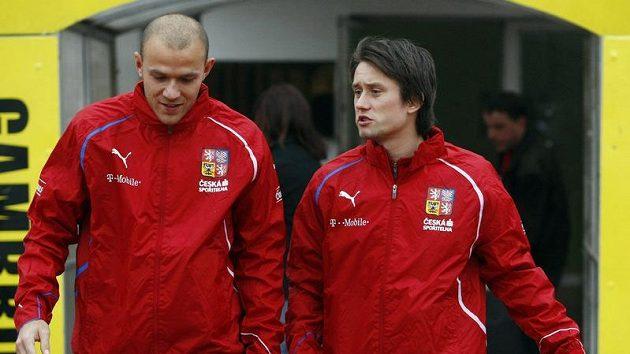 Roman Bednář (vlevo) a Tomáš Rosický na srazu české fotbalové reprezentace