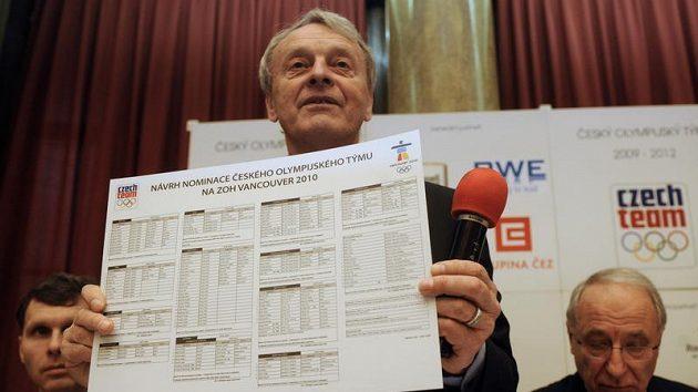 Místopředseda Českého olympijského výboru (ČOV) František Dvořák ukazuje návrh nominace českých reprezentantů na zimní olympiádu 2010 ve Vancouveru.
