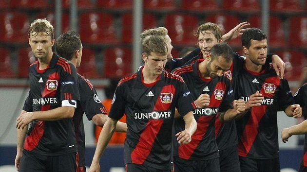 Radost fotbalistů Bayeru Leverkusen