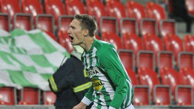 Milan Škoda z Bohemians 1905 se raduje ze své branky v utkání s Libercem, kterou upravil skóre na 2:1 pro klokany.