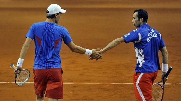 Čeští tenisté Tomáš Berdych (vlevo) a Radek Štěpánek během finále Davis Cupu proti Španělsku.