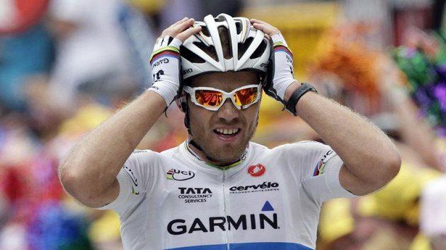 Nor Thor Hushovd se raduje z triumfu ve 13. etapě Tour de France.