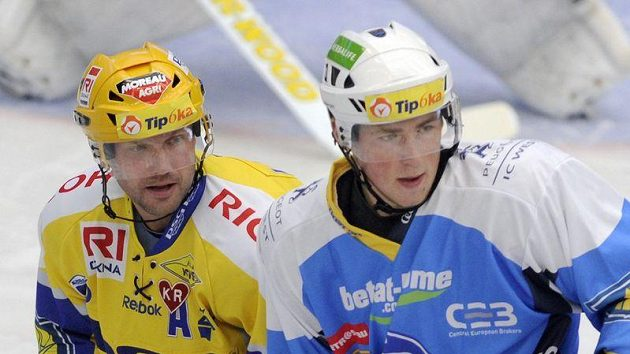 Zlínský útočník Petr Leška (vlevo) a útočník Plzně Jakub Lev