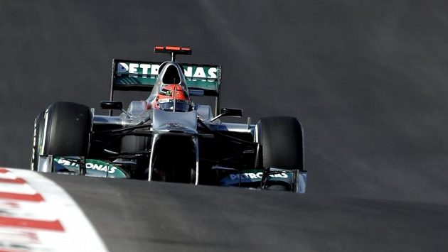 Jezdec formule 1 Michael Schumacher ze stáje Mercedes.