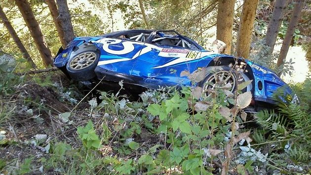 Poškozený vůz Roberta Kubici Subaru Impreza