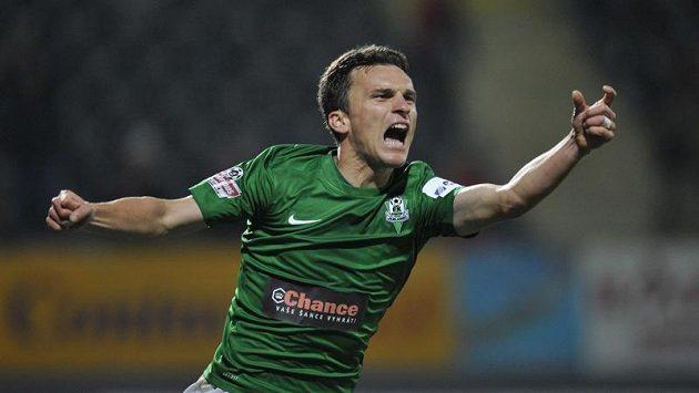 David Lafata se raduje z druhého gólu proti Českým Budějovicím.