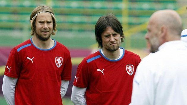 Jaroslav Plašil, Tomáš Rosický a Michal Bílek na tréninku fotbalové reprezentace.