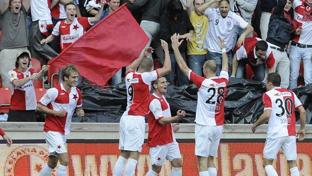 Radost fotbalistů Slavie