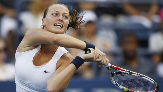 Tenistka Petra Kvitová během zápasu 1. kola US Open proti Poloně Hercogové.