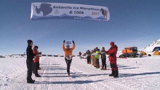 Cíl Antarktického maratónu.