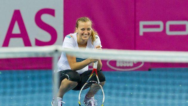 Petra Kvitová během přípravy na fedcupový duel s Německem.