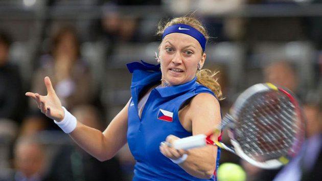 Petra Kvitová během zápasu se Sabine Lisickou.