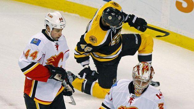 David Krejčí se raduje z gólu do sítě Calgary.