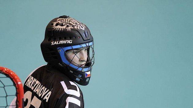 Florbalová brankářka Jana Christianová v semifinále MS proti Finsku.