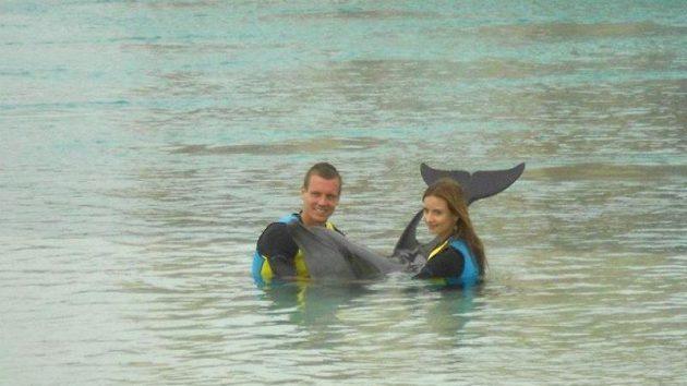 Tomáš Berdych v delfináriu.