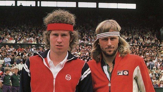 Finále Wimbledonu 1980 mezi Björnem Borgem (vpravo) a Johnem McEnroem. O rok pozdějí předvvedl Američan slavné extempore.