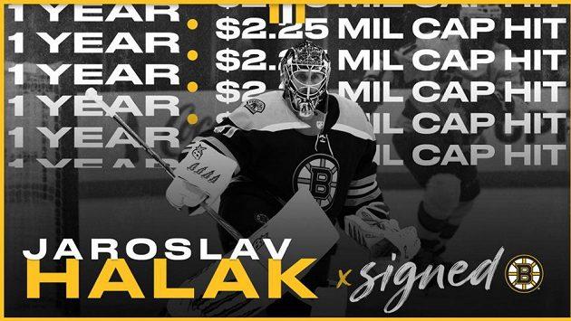 Slovenský hokejový brankář Jaroslav Halák podepsal v NHL novou smlouvu s Bostonem. Roční kontrakt mu zaručuje příjem 2,25 milionu dolarů.