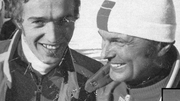 Jáchym Bulín (vpravo) s Jaroslavem Balcarem na ZOH 1976 v Innsbrucku.