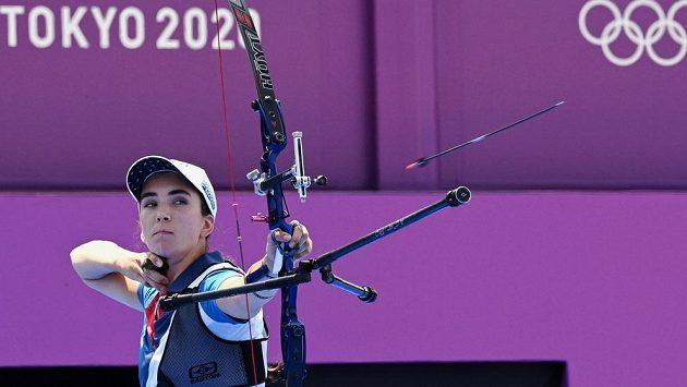 Česká lukostřelkyně Marie Horáčková během olympijského závodu v Tokiu.