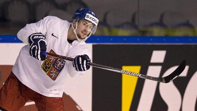 Petr Holík na tréninku českých hokejistů v Paříži.