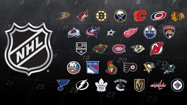 Logo NHL a týmy, které ji nyní hrají.