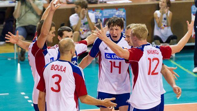 Čeští volejbalisté v zápase Evropské ligy proti Španělsku.