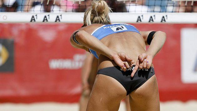 Česká plážová volejbalistka Michala Kvapilová na šampionátu ve Vídni.