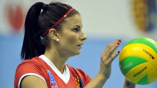 Andrea Kossányiová z Prostějova v utkání volejbalové Ligy mistryň proti Eczacibasi Istanbul.