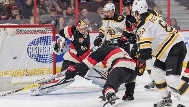 David Pastrňák z Bostonu (vpravo) střílí gól brankáři Ottawy Craigu Andersonovi.