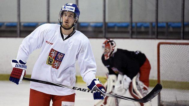 Roman Červenka během tréninku české hokejové reprezentace.