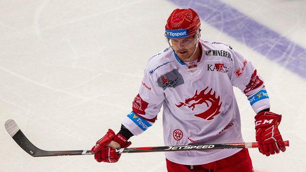 Aron Chmielewski z Třince při zápase s Přerovem.