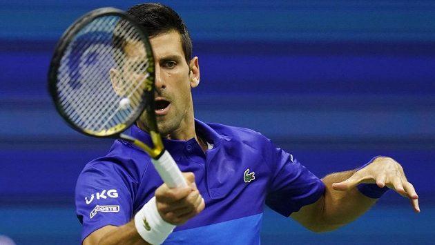Novak Djokovič během zápasu prvního kola letošního US Open