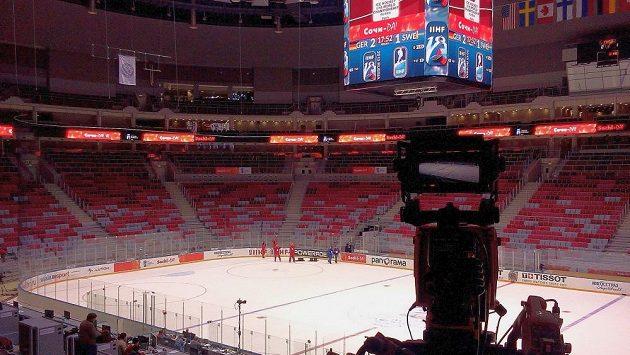 Interiér hokejové haly v Soči, kde se bude hrát o olympijské medaile.