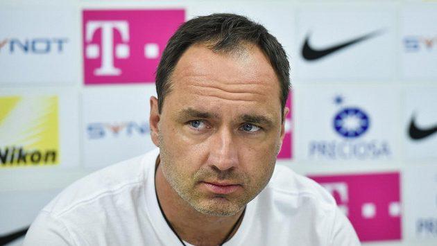Trenér Slovanu Liberec Jindřich Trpišovský na čtvrteční tiskové konferenci.