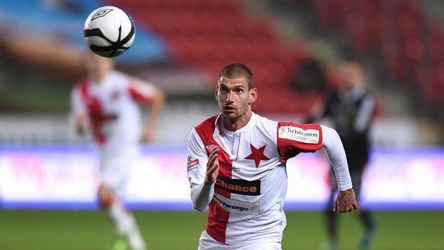 Martin Juhar ještě ve slávistickém dresu během ligového utkání s Příbramí