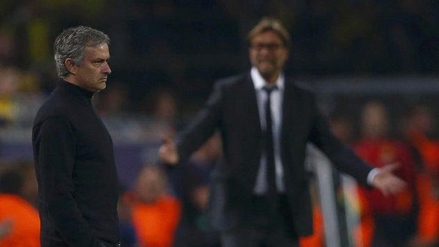 Kouč Realu Jose Mourinho neměl v Dortmundu důvod k radosti. Naopak trenér Borussie Jürgen Klopp jásal.