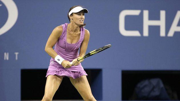 Bývalá světová jednička Martina Hingisová během prohraného finále ženské čtyřhry na US Open.
