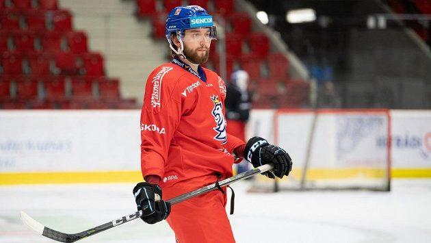 Hynek Zohorna během tréninku hokejové reprezentace.