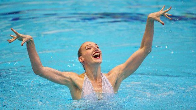 Světlana Romašinová z Ruska vyhrála sólovou soutěž akvabel na ME v Berlíně.