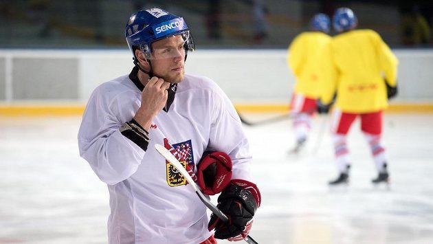 Vladimír Sobotka během tréninku hokejové reprezentace.