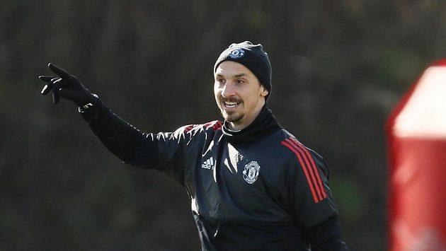 Zlatan Ibrahimovic během tréninkku v Manchesteru.
