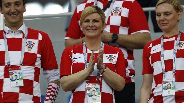 Po osmifinále i čtvrtfinále se za chorvatským fotbalisty v kabině zastavila také prezidentka Kolinda Grabarová-Kitarovičová.