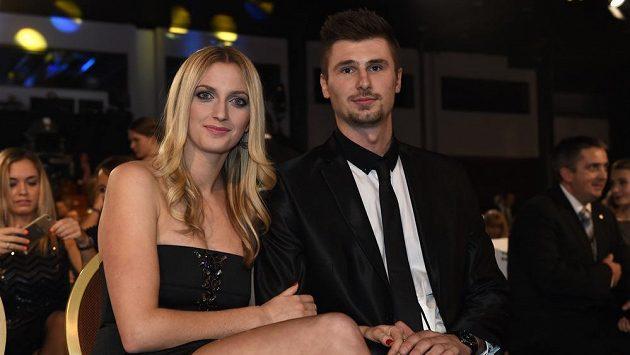 Petra Kvitová a partner Radek Meidl během vyhlášení novinářské ankety Sportovec roku 2014.