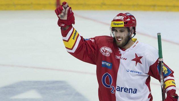 Útočník Slavie Michal Poletín se raduje z gólu proti Vítkovicím.