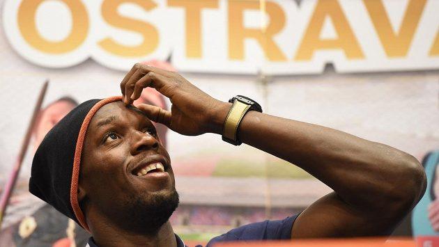 Jamajský sprinter Usain Bolt na tiskové konferenci v Ostravě.