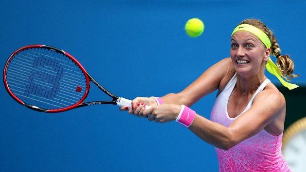 Petra Kvitová v zápase Australian Open s Monou Barthelovou z Německa.