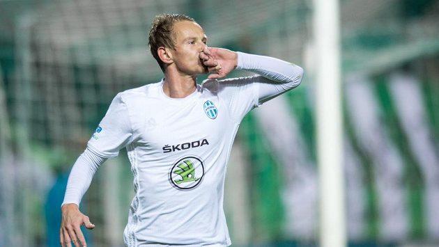 Boleslavský útočník Jan Chramosta slaví gól - ilustrační foto.